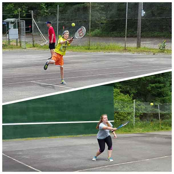 Quinn and Jacklyn playing tennis
