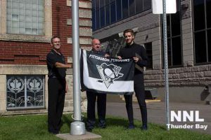 The Pittsburgh Penquin's flag raised at the Northwestern Ontario Sports Hall of Fame today by Matt Murray - Penquin's Goalie, Thunder Bay Mayor Keith Hobbs.