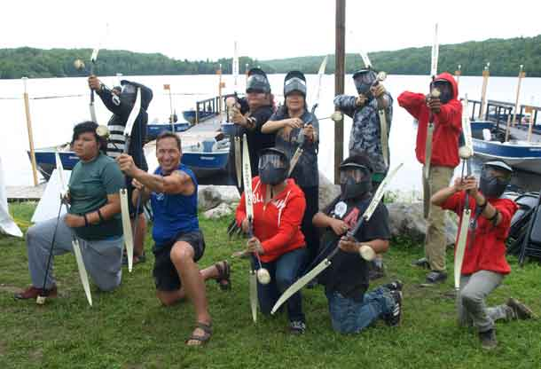 Wabun Chief Marcia Brown-Martel joined in a fun game of archery tag at the Wabun Youth Gathering, held at Horwood Lake Lodge, recently. Back row L-R: Jacy Jolivet, Taylor Macmillan, Chief Brown-Martel, Nigel Neshawabin and Amadeus Neshawabin. Front L-R: Ethan Naveau, Tim Simpson, Pro Sports; Athena Kyle, Logan Black and Dreyden Agawa.