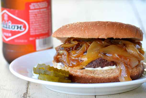 Caramelized onions make any burger better. Credit: Copyright 2016 Lynne Curry