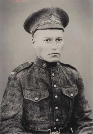 John Chookomolin, spelled Jakomolin in his war records, at the age of 22 when he was taken from Attawapiskat in 1917.