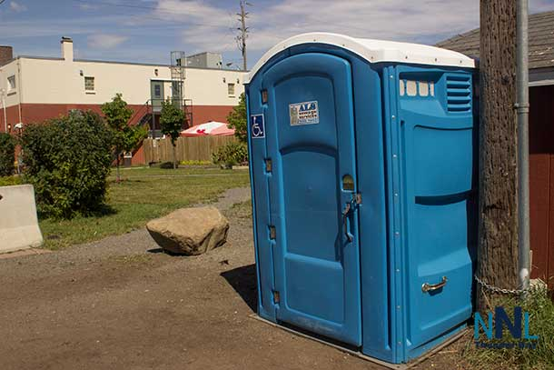 Portable washroom installed behind Shelter House.