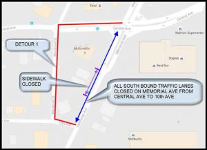 Memorial Drive Closure area