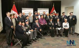 Veterans Affairs Minister Kent Hehr with local Veterans at announcement that Office and services in Thunder Bay will resume