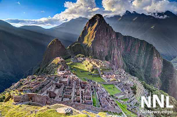 Panorama view of Machu Picchu sacred lost city of Incas in Peru