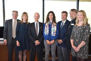 Julia Ieropoli (centre) was named Lakehead University's inaugural Naysmith Scholar on Friday. The Naysmith Scholar announcement was made with Dr. John Naysmith (third from left); Bob Rooney (Dr. Naysmith's son-in-law, far left); Jean-Ann Naysmith Rooney (Dr. Naysmith's daughter, second from left); Dr. Brian Stevenson; Dr. Ulf Runesson; and Sasha Naysmith McMonagle (Dr. Naysmith's granddaughter, far right).