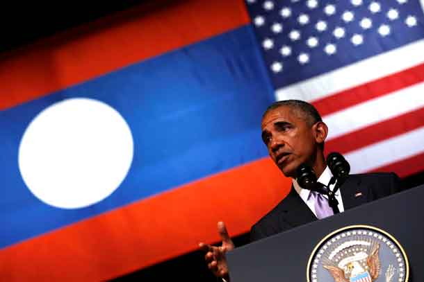 U.S. President Barack Obama delivers an address at the Lao National Cultural Hall, on the sidelines of the ASEAN Summit, in Vientiane, Laos September 6, 2016. REUTERS/Jonathan Ernst