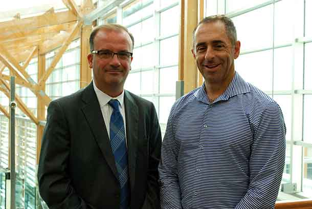Tom Mihaljevic (left), Director, Business Development at Freedom 55 Financial and Board Director, Thunder Bay Regional Health Sciences Foundation, and Michael Rigato (right), Vice-President and Chief Distribution Officer, Wealth & Estate Planning Group, London Life, visited the Health Sciences Centre to celebrate the long-standing support from Great-West Life, London Life and Canada Life.