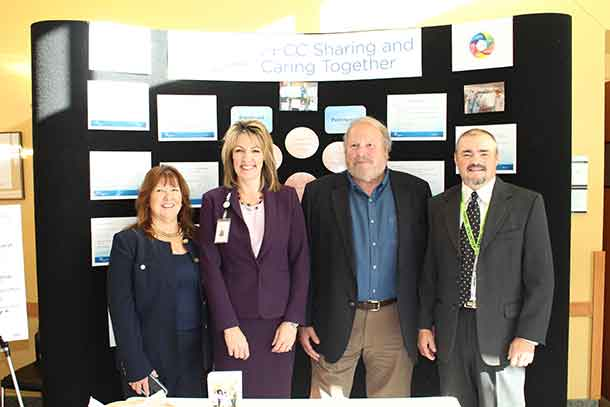 Bonnie Nicholas, Patient and Family Centred Care Lead, Rhonda Crocker Ellacott, Executive VP, Patient Services and Chief Nursing Executive, Grant Walsh, 1st Vice Chair, Health Sciences Centre Board of Directors, and Keith Taylor, Co-Chair of the Patient Family Advisory Council, were on hand at the Sharing and Caring Together Exhibition to celebrate the Health Sciences Centre's continued commitment to Patient and Family Centred Care.