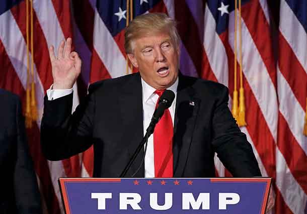 U.S. President elect Donald Trump speaks at election night rally in Manhattan, New York, U.S., November 9, 2016. REUTERS/Mike Segar