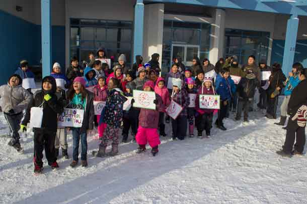 Bearskin Lake students - Just say no to drugs.