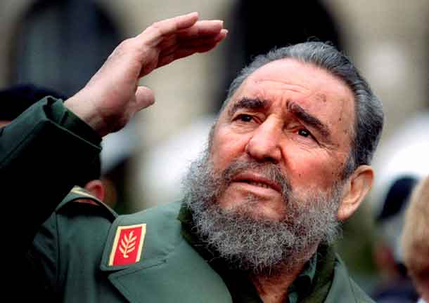 Cuba's President Fidel Castro gestures during a tour of Paris in this March 15, 1995 file photo. Ailing Cuban leader Castro said on February 19, 2008 that he will not return to lead the country, retiring as head of state 49 years after he seized power in an armed revolution. REUTERS/Charles Platiau/Files