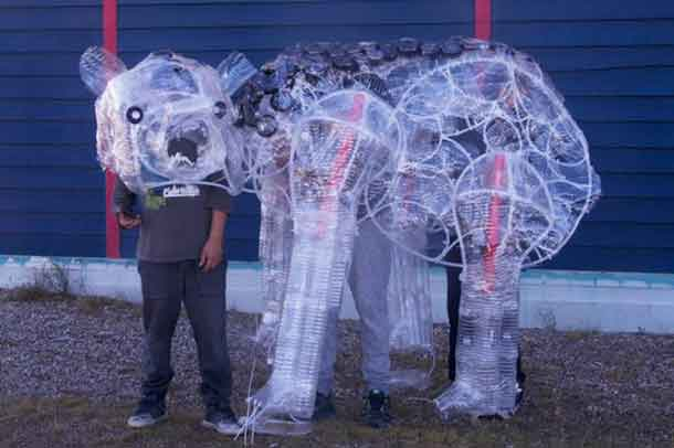 Marten Falls (Ogoki Post) youths created a bear puppet out of water bottles for their multi-arts telling of their traditional bear story.