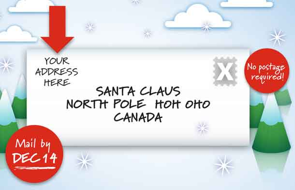 Write to Santa - But get those letters in the mail by December 14th.
