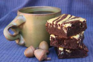 Coffee and 100% acorn brownies. Credit: Copyright 2016 Wendy Petty