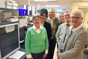 Patient care is improving at the Thunder Bay Regional Health Sciences Centre, thanks to the recent addition of Polymerase Chain Reaction equipment in the clinical laboratory, which was generously funded thanks to donors. Pictured here are donors, Nancy and Graham Post (left and 2nd from right), along with (left to right) Georgia Carr, Manager, Clinical Lab, Jody Nesti, Chair, Board of Directors, Thunder Bay Regional Health Sciences Foundation, Wendy Gouliquer, Clinical Coordinator, Microbiology and Hilary McIver, Manager, Infection Control and Risk Management. Thanks to this new equipment, testing for antibiotic resistant infections like MRSA or VRE can now be done in as little as an hour, as opposed to 2-5 days, which is significant as patients can be treated sooner and removed from isolation when appropriate.