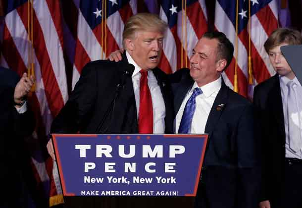 President-elect Donald Trump and Chairman of the Republican National Committee Reince Priebus address supporters during his election night rally in Manhattan. REUTERS/Mike Segar