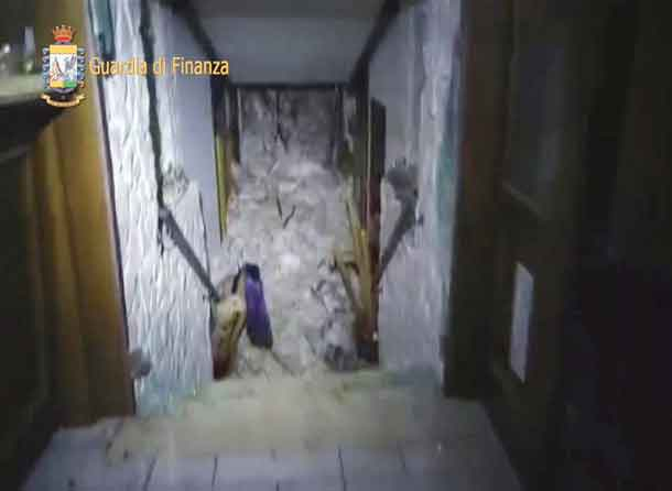 A photo taken from a video shows the snow inside the Hotel Rigopiano in Farindola, central Italy, hit by an avalanche, in this January 19, 2017 handout picture provided by Italy's Finance Police. Guardia Di Finanza/Handout via REUTERS