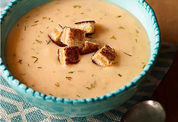 Potato Soup with Cheddar Croutons