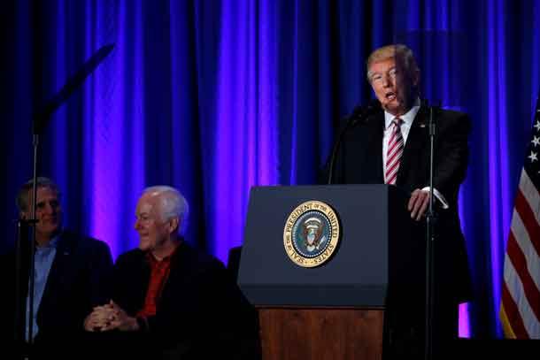 U.S. President Donald Trump attends a congressional Republican retreat in Philadelphia, U.S. January 26, 2017. REUTERS/Jonathan Ernst