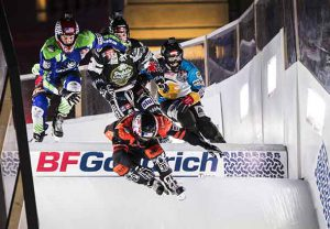 Cameron Naasz of the United States, Maxwell Dunne of the United States, Scott Croxall of Canada and Marco Dallago of Austria compete during the finals at the first stage of the ATSX Ice Cross Downhill World Championship at the Red Bull Crashed Ice in Marseille, France on January 14, 2017