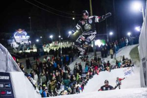 Scott Croxall of Canada performs during the finals at the second stage of the ATSX Ice Cross Downhill World Championship at the Red Bull Crashed Ice in Jyvaskyla-Laajis, Finland on January 21, 2017.