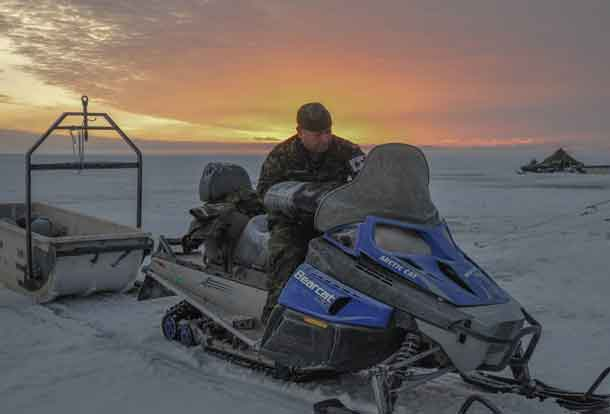 Sergeant Jeffrey Daquigan, 17 Field Ambulance, 38 Canadian Brigade group gets ready to embark on Exercise ARCTIC BISON 2017 on Lake Winnipeg, Man. The exercise is 38 CBG's Arctic Response Company Group's (ARCG) annual training opportunity that allows soldiers to train their non-tactical winter warfare skills. Photo Credit: Cpl Natasha Tersigni, 38 CBG Public Affairs