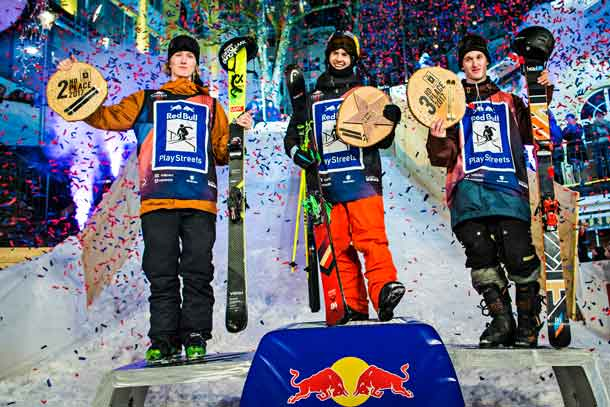 (L to R) Andri Ragettli of Switzerland, Jesper Tjader of Sweden and Lukas Mullauer of Austria celebrate at the Red Bull Playstreets in Bad Gastein, Austria on February 24, 2017 // Samo Vidic/Red Bull Content Pool