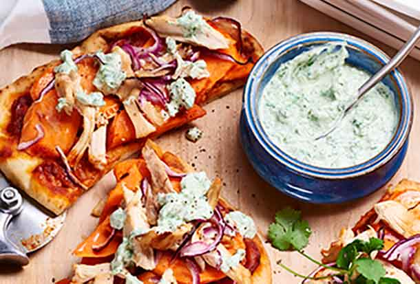 Tandoori Chicken and Sweet Potatoes on Flatbread