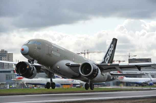 Bombardier CS100 Taking off in London