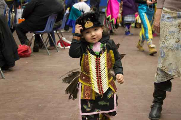 Young Lincoln shows his regalia with pride at the 2017 LUNSA Pow Wow