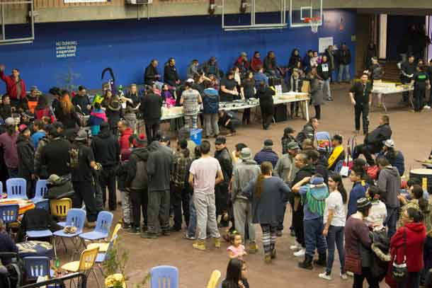 Long line-up for the feast at the Lakehead University Pow Wow