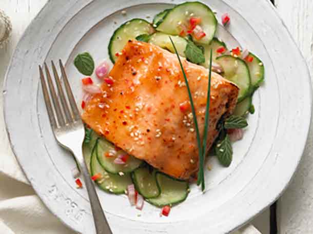 Maple Miso Glazed Trout with Sesame and cucumbers