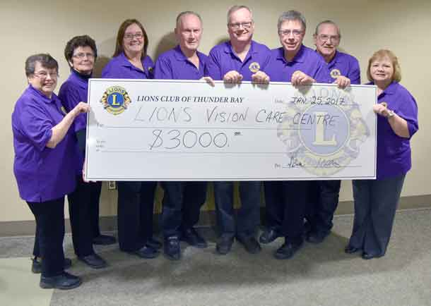 Pictured above, from the Lions Club of Thunder Bay, presenting a gift of $3,000 to purchase a new Retinal Imaging Camera at the Lions Vision Care Centre are (left to right): Barb Story, Gloria Potocnik, Diane Buta, Peter Story, Steve Smith, Dr. Blair Schoales, Jim Ramsbottom and Vicki Gagne-Smith.
