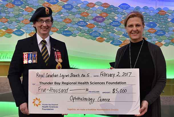 Poppy Chairman for The Royal Canadian Legion Branch No. 5, Sharon Scott (left) and Terri Hrkac, Senior Director, Major and Legacy Giving, Thunder Bay Regional Health Sciences Foundation