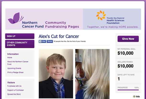 Alex Haapa-aho raised $10,665 for the Northern Cancer Fund after growing his hair for about 1.5 years. He got it shaved off on his 9th birthday on October 28, 2016, and recently returned to the Cancer Centre to place a plaque, bearing the names of his grandfathers, in memory of whom he started this project