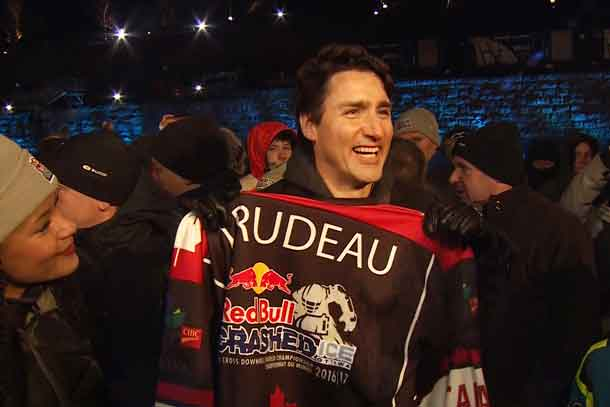 Canadian Prime Minister Justin Trudeau visits the eighth stage of the ATSX Ice Cross Downhill World Championship at the Red Bull Crashed Ice in Ottawa, Canada on March 4, 2017. // Armin Walcher / Red Bull Content Pool //