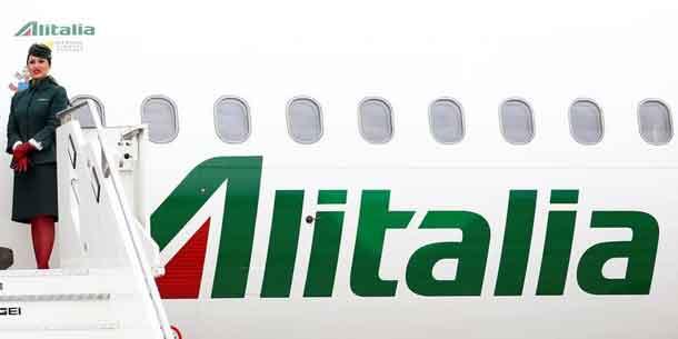 Alitalia's flight attendant is seen at the Leonardo da Vinci-Fiumicino Airport in Rome, Italy, April 28, 2017. REUTERS/Tony Gentile
