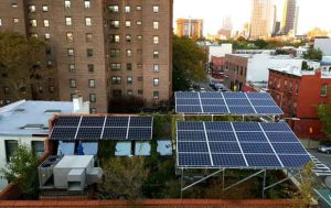 Solar panels on the rooftop of a building in Brooklyn are connected to startup LO3 Energy's TransActive Grid in this undated picture. Photo courtesy of LO3 Energy/Handout via Thomson Reuters Foundation