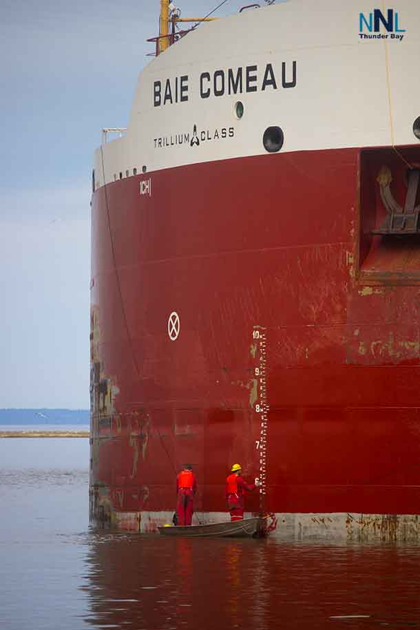 Painting the Canada Steamship Lines Baie Comeau at Canada Malting in Thunder Bay on May 23 2017.