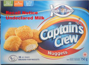 Recall due to undeclared milk product of High Liner Captain's Crew fish strips and nuggets