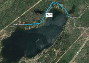 Map showing road closure of East Loon Lake Road