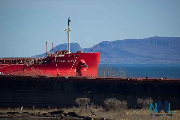 The Federal Clyde with Thunder Bay's iconic Sleeping Giant in the background.