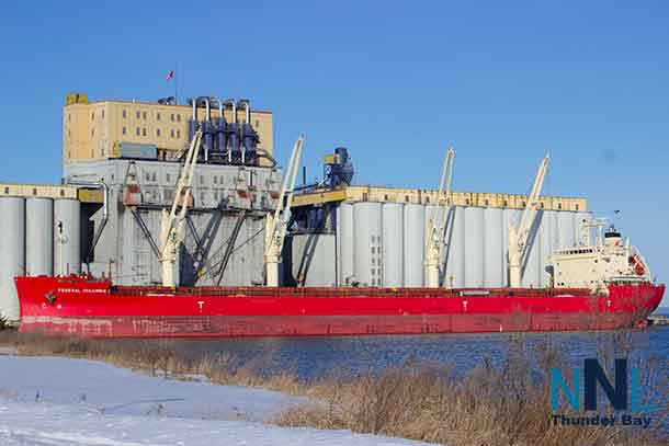 Federal Columbia in the Port of Thunder Bay. Shot April 29 2017 - Note the snow on the ground following a late season storm.
