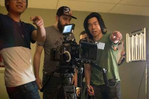 Film Production students Warren McGoey (left) and Guin-seng Won, in action while directing their films 'The Manitoba Cheese Run' and 'Change of Heart'