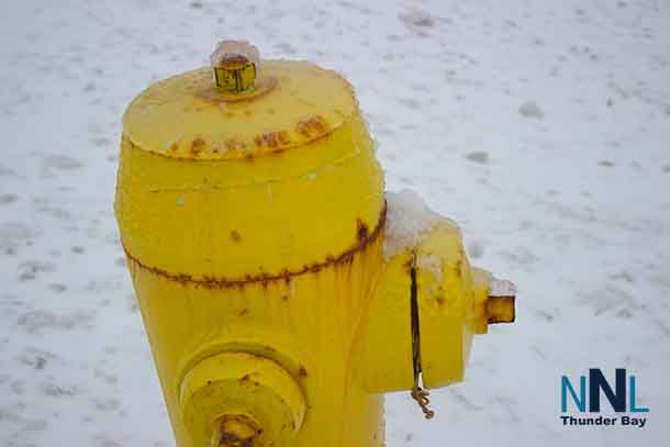 The brightness of the fire hydrant with the stark white of the snow and ice