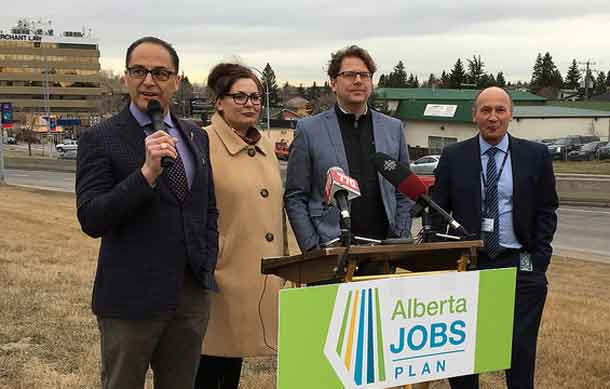 Finance Minister Joe Ceci is joined by the Executive Director of International Avenue Business Revitalization Zone Alison Karim-McSwiney and City of Calgary councillors Gian-Carlo Carra and Andre Chabot