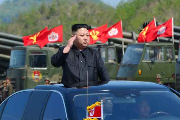 North Korea's leader Kim Jong Un watches a military drill marking the 85th anniversary of the establishment of the Korean People's Army (KPA) in this handout photo by North Korea's Korean Central News Agency (KCNA) made available on April 26, 2017. KCNA/Handout via REUTERS