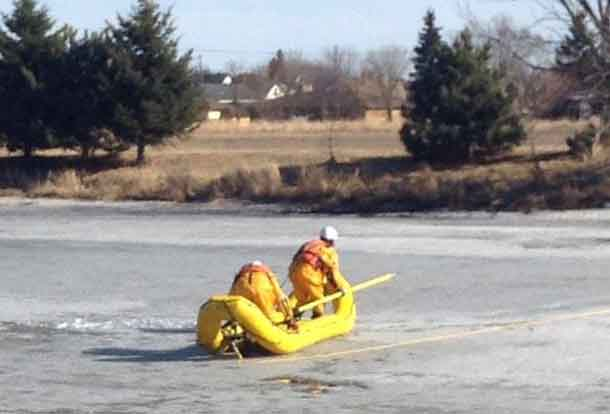 Rescue crews were on the McIntyre River this afternoon after reports that a man fell through the ice