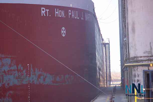 The Rt. Hon. Paul J. Martin a Canada Steamship Lines freighter loading in the Port of Thunder Bay (April 21 2017)